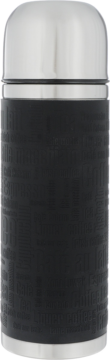 """Термос Emsa """"Senator Sleeve"""" имеет прочный корпус из нержавеющей стали. Внешние стенки дополнены силиконовой накладкой с рельефными надписями. Модель снабжена герметичной пластиковой пробкой, которая предотвращает выливание содержимого. Крышка с внутренним пластиковым покрытием удобно завинчивается и может послужить в качестве чашки для напитков. Термос сохраняет напиток горячим 12 часов, холодным - 24 часа.  Диаметр горлышка: 4,5 см.  Диаметр основания: 7,5 см.  Высота термоса: 24 см."""