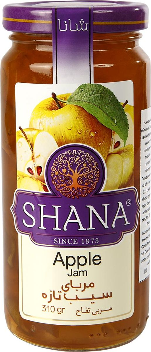 Shana джем яблочный, 310 г6260272498606ДжемыShana- это не только душистое и вкусное лакомство, но и хороший способ сохранения витаминов лета. Джемы готовятся таким образом, чтобы ингредиенты сохраняли свою форму. Вы сможете полакомиться кусочками фруктов и соцветиями, и получите удовольствие от ощущения натуральности продукта. Сироп в джемахShana присутствует только в необходимом количестве, основную массу джемов составляют фрукты, ягоды и другие компоненты. Самыми подходящими для приготовления джемов являются яблоки, лучше кислых сортов. Именно они содержат наибольшее количество пектина, который является природным загустителем.