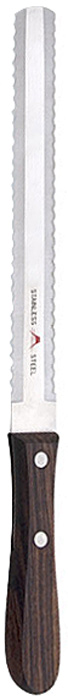 """Кухонный нож Tojiro """"Fujl"""" выполнен из высококачественной   нержавеющей стали Sus420J2. Благодаря специальным   зубчикам нож легко разрезает кости и замороженные   продукты. Лезвие обладает высокой прочностью и устойчиво к   коррозии. Удобная рукоятка выполнена из дерева. Мыть теплой водой с применением моющего средства.   Правила эксплуатации: - Хранить нож следует в сухом месте. - После использования, промойте нож теплой водой и протрите насухо. - Оставление ножа в загрязненном состоянии может привести к образованию коррозии. Запрещается: - Мыть нож в посудомоечной машине. - Хранить ножи в одной емкости со столовыми приборами. - Резать на твердых поверхностях: каменных столешницах, керамических тарелках, акриловых досках. Правка производится легкими движениями на водном камне или мусате. Заточка ножа - сложный технологический процесс, должен производиться профессионалом на специальном оборудовании. Услуга по заточке ножа предоставляется специалистами компании «Тоджиро». Характеристики: Материал: нержавеющая сталь, дерево. Длина лезвия: 19 см. Общая длина ножа: 31,5 см. Размер упаковки: 5,5 см х 36 см х 2 см. Артикул: FG-3400.Уважаемые клиенты! В случае несоблюдения правил эксплуатации, нож не подлежит гарантийному обслуживанию."""