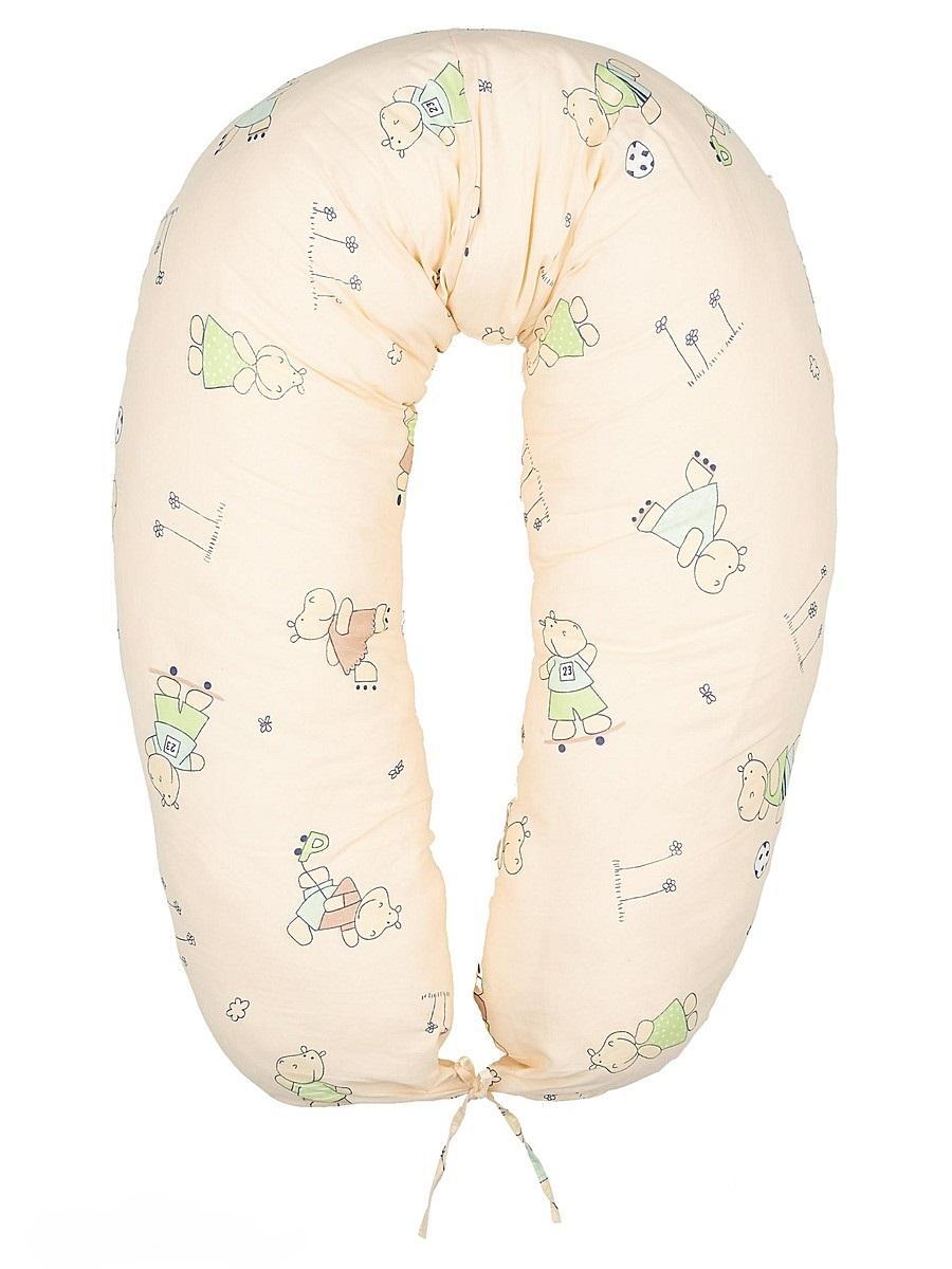 40 недель Подушка для кормящих и беременных Бегемотики цвет бежевый салатовый 170 смБХП-170/Многофункциональная подушка с наполнителем из холлофайбера подходит для кормления и отдыха - обеспечивает комфорт мамы и малыша.В период беременности ее удобно использовать, подкладывая под живот или спину. Для уменьшения нагрузки на спину, плечи, руки и шею во время кормления расположите подушку вокруг талии. Для поддержания ребенка в различных положениях и зашиты его от падения, следует поместить малыша в центр подушки.Модель со съемным чехлом из хлопкового полотна на застежке-молнии.Размер 170 х 30 см.