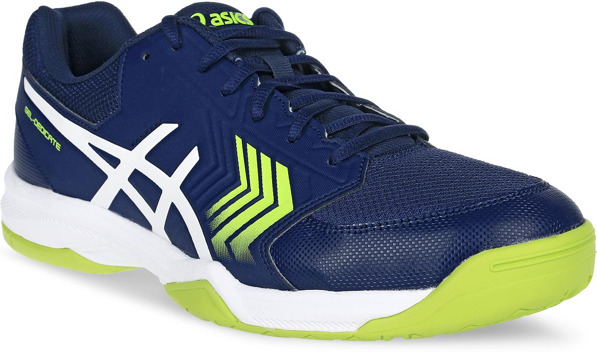Кроссовки для тенниса мужские Asics Gel-Dedicate 5, цвет: темно синий. E707Y-4901. Размер 8H (40,5)E707Y-4901Усиленная структура со всех сторон стопы делает кроссовки Asics Gel-Dedicate 5 идеальными для тенниса вне зависимости от того, являетесь ли вы новичком или играете достаточно регулярно. Эти мужские теннисные кроссовки с технологией Asics дарят комфорт и обеспечивают стабильность от первой подачи до матч-пойнта. Подрезай, обходи, иди на рывок – весь корт твой. С системой амортизации в задней части ступни Asics Forefoot GEL Cushioning System, однородной резиновой поверхностью подошвы и гибким верхом эти теннисные кроссовки снижают отдачу при резких движениях и обеспечивают максимальный комфорт и точную посадку по ноге. Кроссовки Asics Gel-Dedicate 5 - идеальный выбор для игроков в теннис, которым необходимо соответствующая обувь.