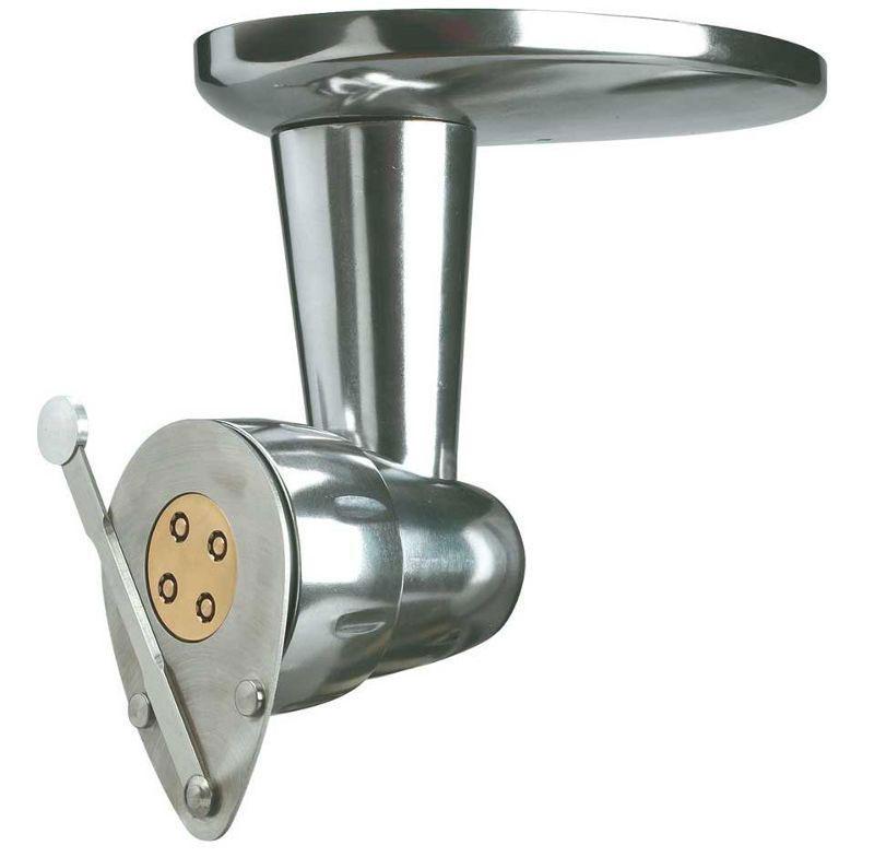 Kenwood AX910 Sense насадка для круглой пастыAX910Насадка для круглой пасты Kenwood AX910 создана специально для тех, кто предпочитает готовить вкусные макаронные изделия в домашних условиях. Данный прибор поможет вам расширить функциональность вашей кухонной машины и позволит готовить аппетитные итальянские блюда без особых усилий. Насадка совместима с кухонными машинами из серии kMix. Ее цельнометаллический корпус отличается высокой прочностью и надежностью в эксплуатации. Пользоваться ею очень просто: данная насадка легко устанавливается в низкоскоростном приводе вашего кухонного помощника kMix. Благодаря специальному рычагу вы можете регулировать необходимую длину готовых макарон.