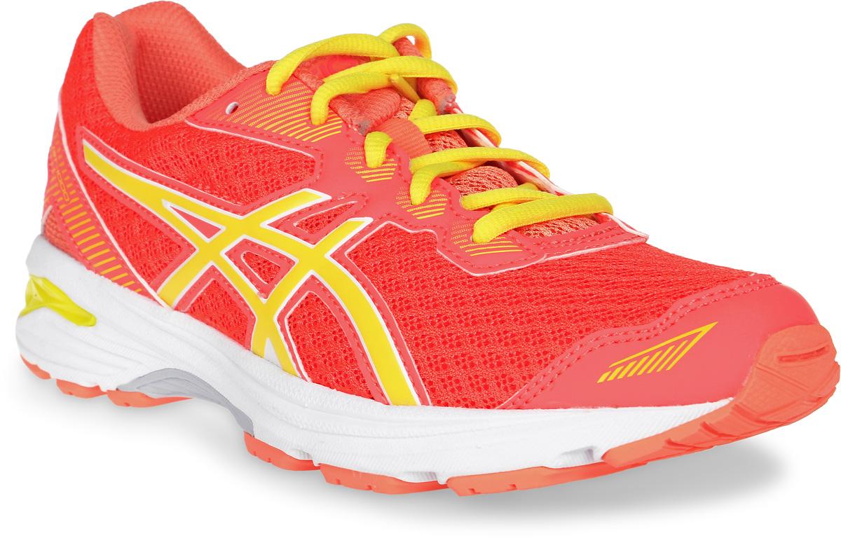 Кроссовки детские Asics Gt-1000 5 Gs, цвет: коралловый, оранжевый, желтый. C619N-2003. Размер 3H (34)C619N-2003Мечтает ли ваш ребенок однажды стать марафонцем или желает быть самым ловким на спортплощадке, детские беговые кроссовки Asics Gt-1000 5 Gs - то, что нужно: амортизация и защита ногам обеспечены. Комфортные упругие кроссовки будто созданы для непрерывной активности. Эта высококлассная модель буквально напичкана техническими фишками. Система поддержки в задней части стопы Gel Support System уменьшает ударное воздействие и делает приземление пружинистым. Средняя подошва Duomax из двух материалов с различной плотностью гарантирует устойчивость стопы. Ощущение легкости в невесомой дышащей модели. Видимость в темноте благодаря светоотражающим деталям.