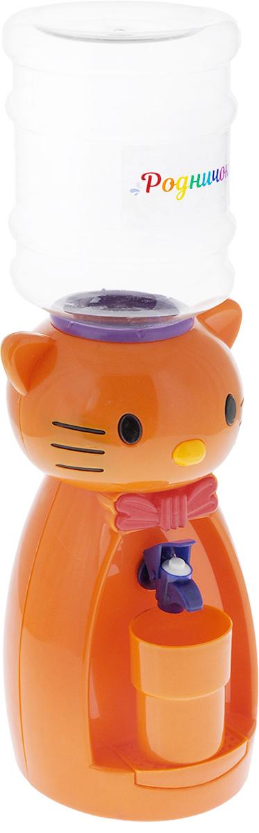 Мини-кулер для воды и сока Родничок Кошка, цвет: оранжевый, красный, 2 л111361Детский мини-кулер Родничок Кошка выполнен из экологически чистого пластика. Изделие не греет и не охлаждает воду, поэтому вы можете не беспокоиться, что ребенок обожжется или простудит горло. Соки, компоты, отвары трав в этом кулере будут для малыша более привлекательны, чем лимонад и другие вредные для организма напитки.Кроха с удовольствием будет наливать напиток из кулера в небольшой стаканчик совсем как взрослый. Ребенок станет потреблять больше жидкости. Вам не придется уговаривать его выпить молоко или компот.Изделие легкое и компактное, поэтому его можно взять с собой на дачу или на пикник. Яркий дизайн, сочные цвета и веселый персонаж сделают такой кулер украшением стола на детском празднике.Стакан входит в комплект.Высота мини-кулера (с учетом бутылки): 49 см. Размер стаканчика: 6,5 х 5 х 8,5 см. Высота бутылки: 18 см.