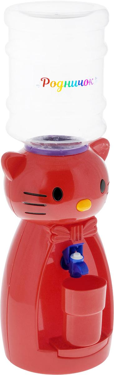 Мини-кулер для воды и сока Родничок Кошка, цвет: красный, 2 л111366Детский мини-кулер Родничок Кошка выполнен из экологически чистого пластика. Изделие не греет и не охлаждает воду, поэтому вы можете не беспокоиться, что ребенок обожжется или простудит горло. Соки, компоты, отвары трав в этом кулере будут для малыша более привлекательны, чем лимонад и другие вредные для организма напитки.Кроха с удовольствием будет наливать напиток из кулера в небольшой стаканчик совсем как взрослый. Ребенок станет потреблять больше жидкости. Вам не придется уговаривать его выпить молоко или компот.Изделие легкое и компактное, поэтому его можно взять с собой на дачу или на пикник. Яркий дизайн, сочные цвета и веселый персонаж сделают такой кулер украшением стола на детском празднике.Стакан входит в комплект.Высота мини-кулера (с учетом бутылки): 49 см. Размер стаканчика: 6,5 х 5 х 8,5 см. Высота бутылки: 18 см.