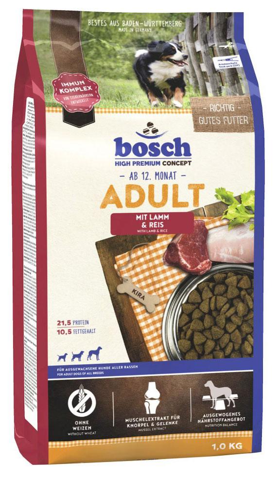 Корм сухой Bosch Adult, для взрослых собак со средним уровнем активности, с мясом ягненка и рисом, 1 кг01427Сухой корм Bosch Adult с мясом ягненка и рисом - сбалансированный высококачественный сухой корм для взрослых собак со средним уровнем активности.Количество энергии в этом рационе сбалансировано таким образом, чтобы собака получала все необходимые питательные вещества с дневной нормой корма. Невысокая калорийность достигается за счет уменьшения процентного содержания жиров при стандартном содержании протеина.В корме использованы легкоусваиваемые и низкоаллергенные питательные вещества ягненка и риса, которые в сочетании со специально подобранной клетчаткой обеспечивают правильную работу кишечника.Оптимальное содержание протеина и жира способствует поддержанию нормального веса животного, а экстракт из новозеландского зеленогубчатого моллюска предотвращает проблемы с суставами. Характеристики: Ингредиенты: мука из свежего мяса домашней птицы, ячмень, маис, пшеничная мука, пшеница, животный жир, мука из мяса ягненка (мин. 5%), рис (мин. 5%), пшеничные отруби, гидролизованное мясо, рыбная мука, свекольная пульпа, дрожжи, горошек, поваренная соль, мука из мидий, экстракт новозеландского зеленогубчатого моллюска, хлорид калия, порошок цикория.Добавки: витамин А - 12000 ME, витамин D3 - 1200 ME, витамин Е - 70 мг, медь (в форме сульфата меди (II), пентагидрат) - 10 мг, цинк (в форме окиси цинка) - 70 мг, цинк (в аминокислотной хелатной форме, гидрат) - 45 мг, йод - 2 мг, селен - 0,2 мг, антиоксидант.Процентное содержание: протеин - 21,5%, жир - 10,5%, клетчатка - 2,5%, минеральные вещества - 6%, влажность - 10%, экстрактивные вещества, не содержащие азот - 49,5%. Вес: 1 кг.Сухие корма Bosch одни из самых популярных и пользующихся спросом в Европе. Корма Bosch производятся только в Германии. Широкий ассортимент кормов позволяет подобрать питание для любого периода жизни собаки или кошки и разнообразить их рацион. В кормах Bosch отсутствуют дешевые наполнители, химическ