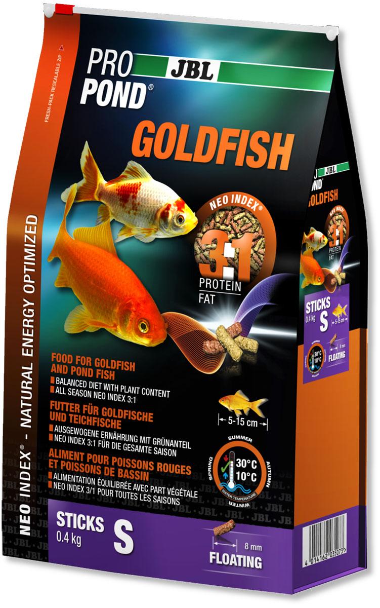 Корм JBL ProPond. Goldfish S для золотых рыбок небольшого размера, плавающие палочки, 400 г (3 л)