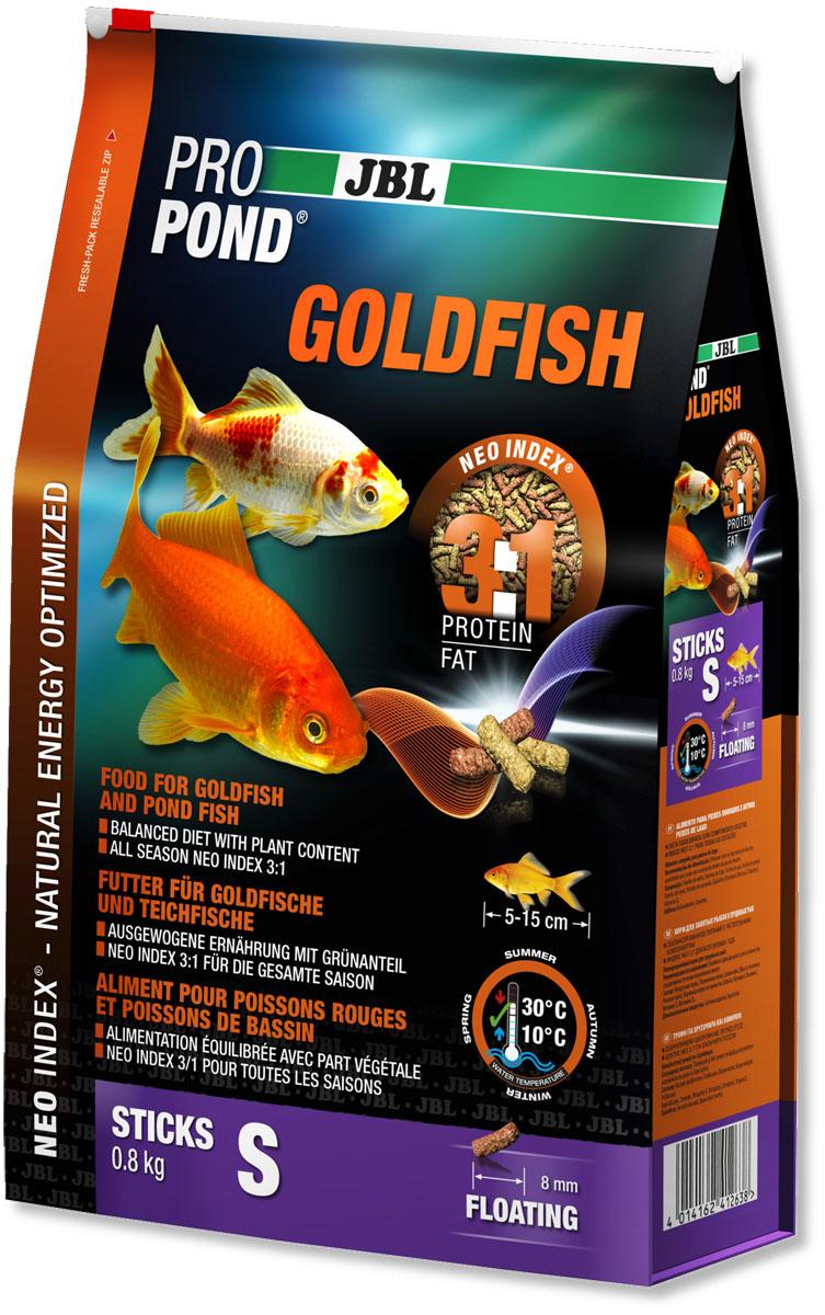 Корм JBL ProPond. Goldfish S для золотых рыбок небольшого размера, плавающие палочки, 800 г (6 л)