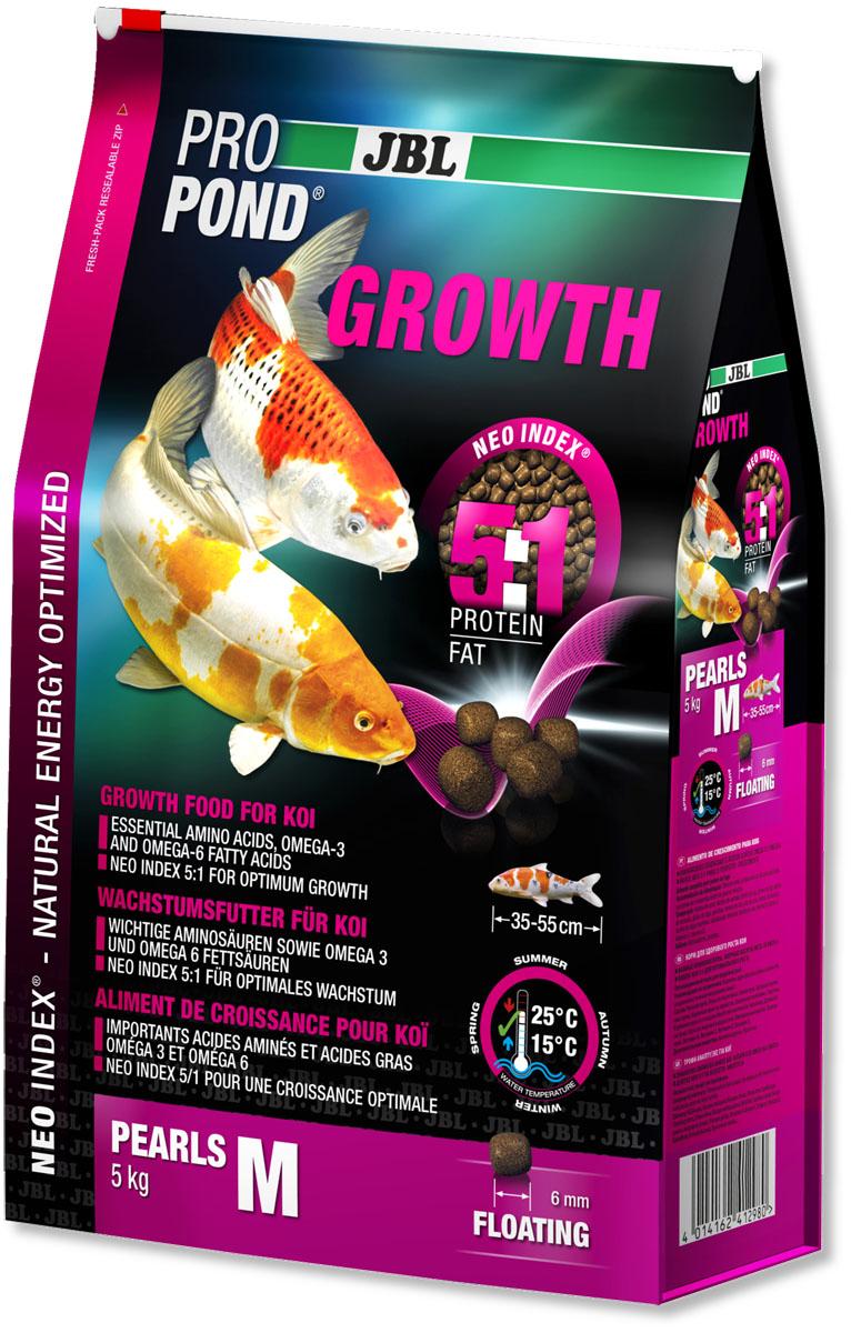 Корм JBL ProPond. Growth M для активного роста карпов кои среднего размера, плавающие гранулы, 5 кг (12 л)