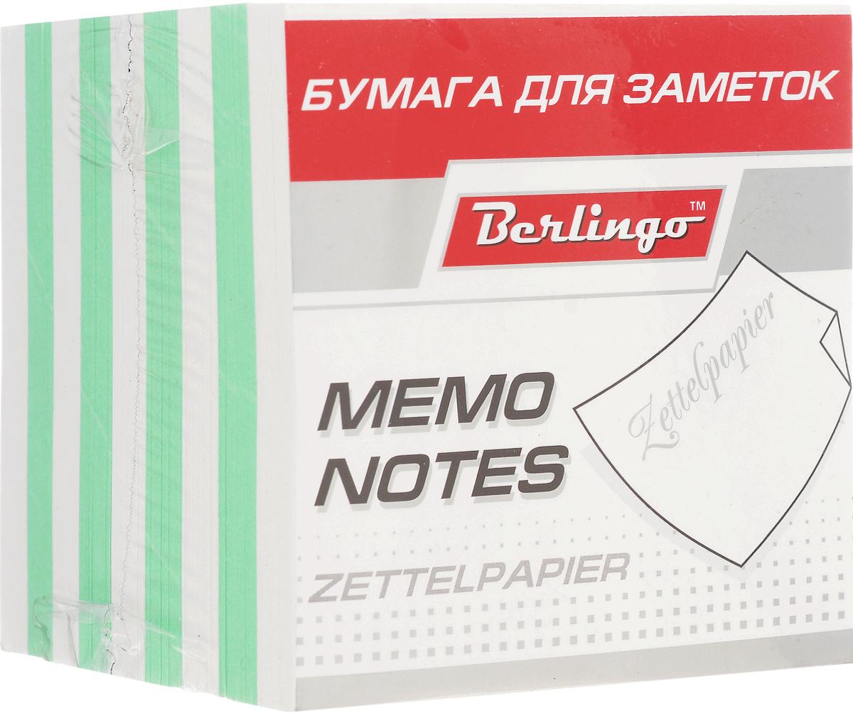 Berlingo Бумага для заметок Standard 9 х 9 х 9 см цвет белый зеленый 1000 листов канцелярия berlingo линейка футбол 15 см