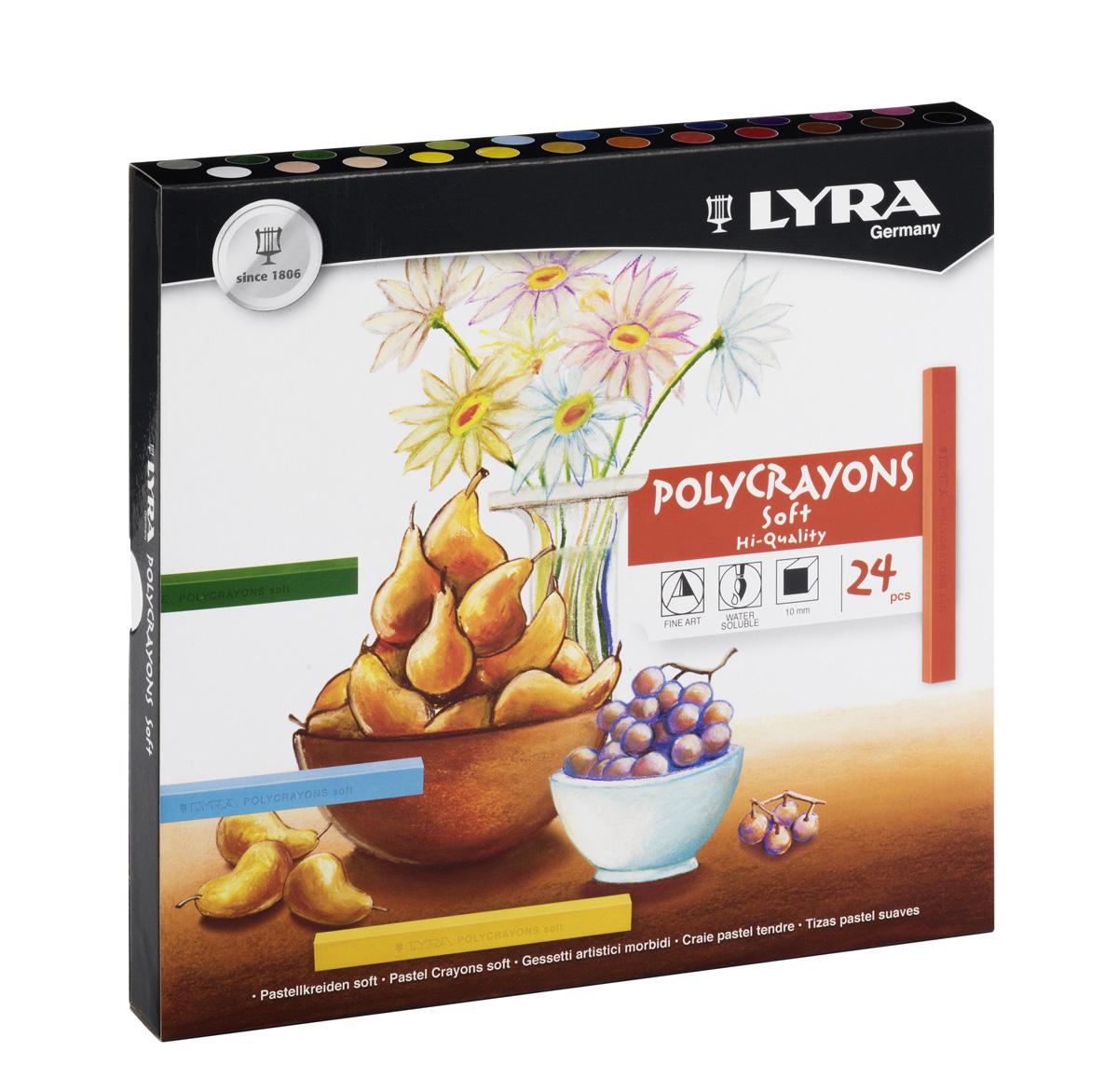 Lyra Пастель сухая Polycrayons 24 цветаL1240Набор пастельных мелков Lyra Polycrayons создан для художественного и графического творчества и отлично подходит как для профессионалов, так и для начинающих художников.Четырехгранные разноцветные мелки имеют высокую прочность, не крошатся и не ломаются.Обладают необыкновенной яркостью и стойкостью благодаря высокой степени пигментации.Мелки растворяются в воде и легко смешиваются, что позволяет создавать неограниченное количество оттенков в различных комбинациях.Длина 70 мм, диаметр 10 мм.Возраст: от 3-х лет.