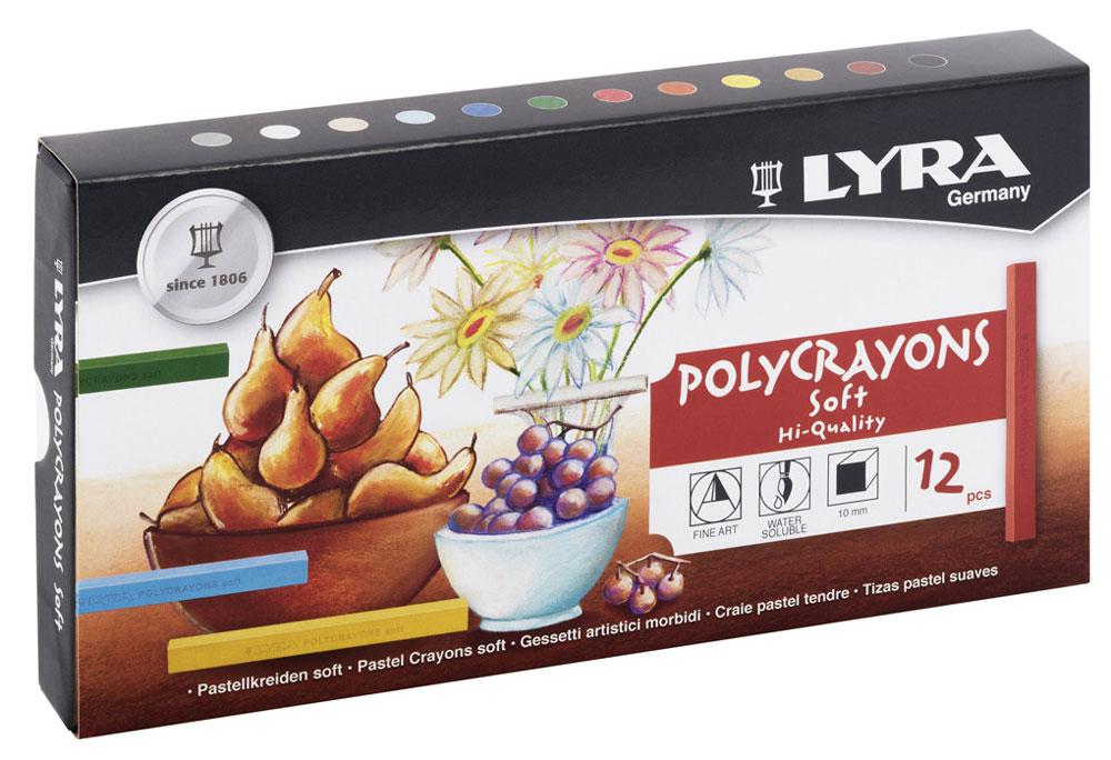 Lyra Пастель сухая Polycrayons 12 цветовL1120Набор пастельных мелков Lyra Polycrayons создан для художественного и графического творчества, он отлично подходит как для профессионалов, так и для начинающих художников.Мелки обладают необыкновенной яркостью и стойкостью благодаря высокой степени пигментации.Мелки растворяются в воде и легко смешиваются, что позволяет создавать неограниченное количество оттенков в различных комбинациях.