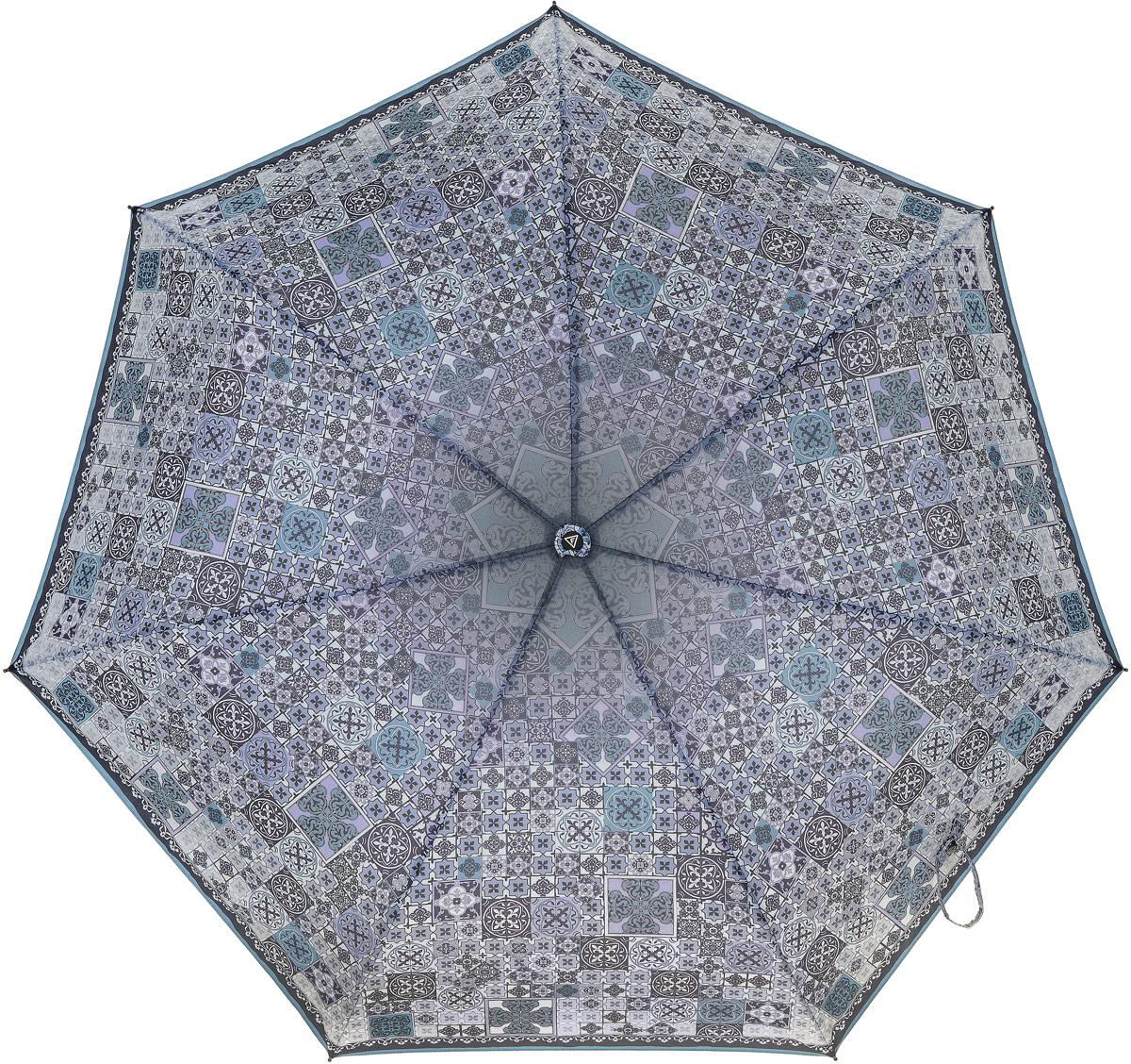 Зонт женский Fabretti, автомат, 3 сложения, цвет: фиолетовый, мультиколор. P-17100-4