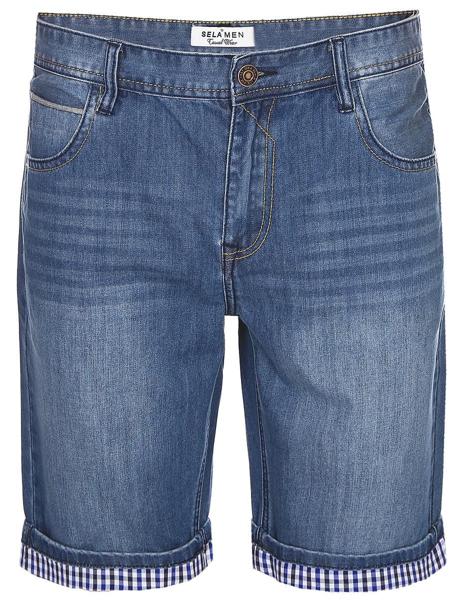 Шорты мужские Sela, цвет: темно-синий джинс. SHJ-235/1069-7213. Размер 28-32 (44-32)SHJ-235/1069-7213Стильные мужские шорты Sela, изготовленные из качественного джинсового материала с эффектом потертостей, станут отличным дополнением гардероба в летний период. Шорты прямого кроя и стандартной посадки на талии застегиваются на застежку-молнию и пуговицу. На поясе имеются шлевки для ремня. Модель дополнена двумя втачными и накладным карманами спереди и двумя накладными карманами сзади.