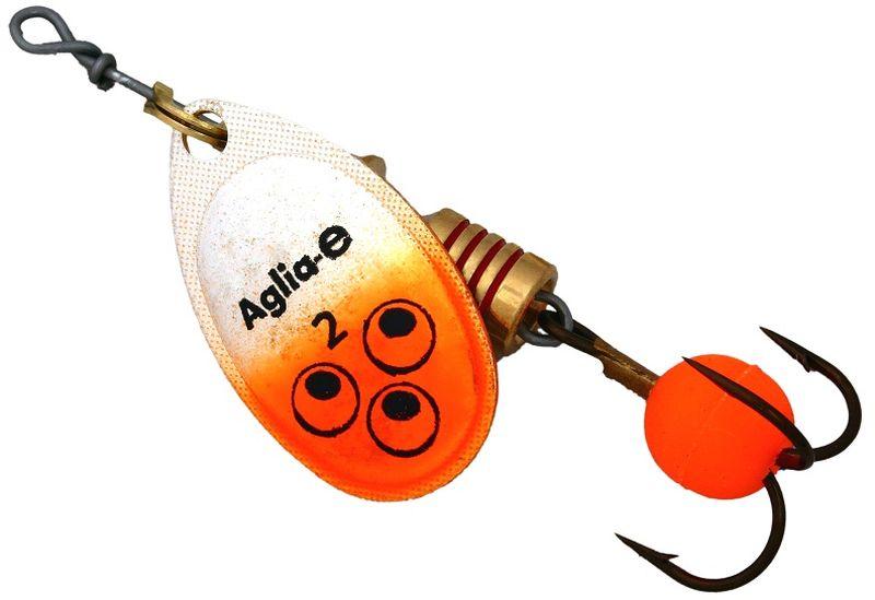 Блесна вращающаяся Mepps Aglia E, цвет: оранжевый, №262431Вращающаяся блесна Mepps Aglia E предназначена для ловли хищных видов рыб. Имеет яркий, кислотный цвет. Тройник блесны оснащен флуоресцентным светонакопительным шариком.