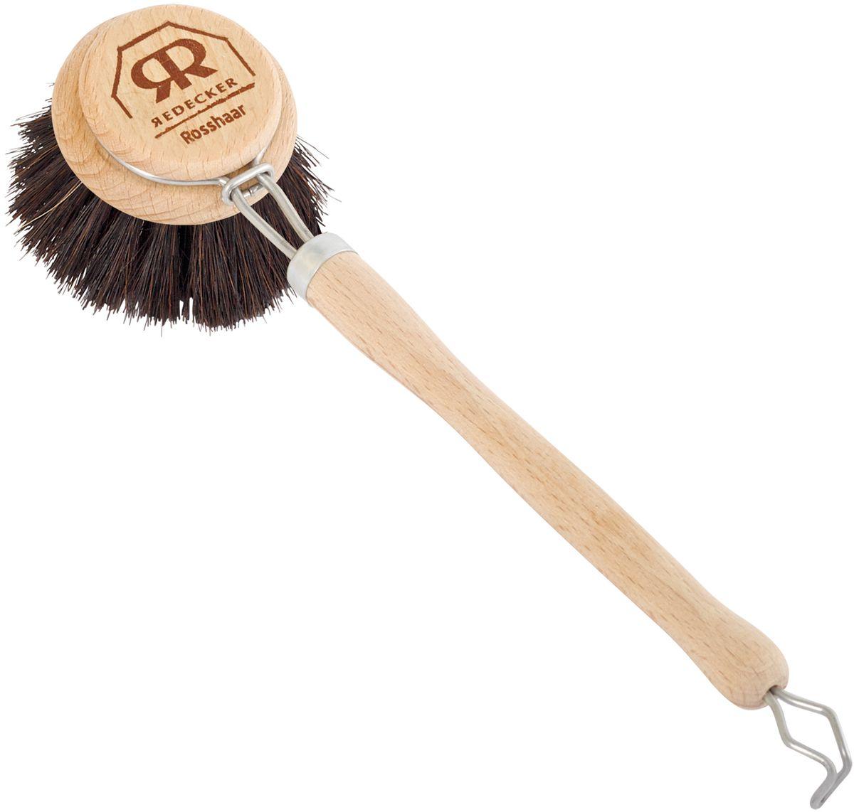 Щетка для мытья посуды Redecker с мягкой щетиной, диаметр 5 см810228Щётка для мытья посуды Redecker изготовлена из необработанной древесины бука и мягкой щетины из темного конского волоса. Идеально подходит для ежедневного мытья тарелок, чашек и столовых приборов. Удобная длинная ручка позволит избежать ненужного контакта рук с химическими чистящими средствами и водой. Металлическое кольцо на конце - для вертикального хранения щётки.Конский волос - это один из основных материалов для любого изготовителя щеток. Для получения щетины обычно используют волосы с хвоста или гривы. Поскольку конский волос содержит большое количество кератина, он устойчив к воздействию кислот и щелочей, что необходимо для любой щётки для уборки. Также конский волос отличается устойчивостью к разрывам и повышенной упругостью. Таким образом, даже при частом использовании щётки с чистящими и абразивными веществами, риск того, что щетина испортится или деформируется, сводится к нулю.Диаметр щетки - 5 см.