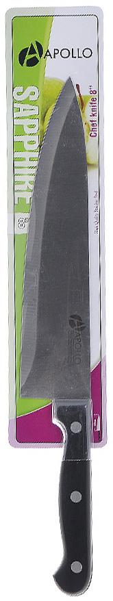 Нож кухонный Apollo Saphire, цвет: серебристый, черный, длина лезвия 20 смТКР002\1Нож Apollo Saphire изготовлен из высококачественной нержавеющей стали, обеспечивающей долгое сохранение заточки. Эргономичная рукоятка выполнена из высококачественного пищевого пластика черного цвета. Рукоятка не скользит в руках и делает резку удобной и безопасной. Нож подойдет для нарезки любых овощей, мяса, рыбы и других продуктов. Такой нож займет достойное место среди аксессуаров на вашей кухне. Характеристики:Материал:нержавеющая сталь, пластик. Цвет:серебристый, черный. Общая длина ножа:32 см. Длина лезвия: 20 см. Артикул:ТКР002\1.