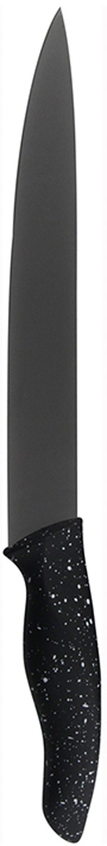 """Нож Marta """"Slicer"""" выполнен из высококачественной пищевой нержавеющей стали и керамическим покрытием. Нож для нарезки имеет гладкое острозаточенное лезвие, а также стильное исполнение ручки удобной формы, обеспечивающей плотный контакт с ладонью, со специальным покрытием, предотвращающим скольжение в руке. Изделие предназначено для шинковки, нарезки овощей и фруктов. Нож можно точить. Нож можно мыть в посудомоечной машине.Длина ножа: 31,8 см.Толщина лезвия: 2 мм."""