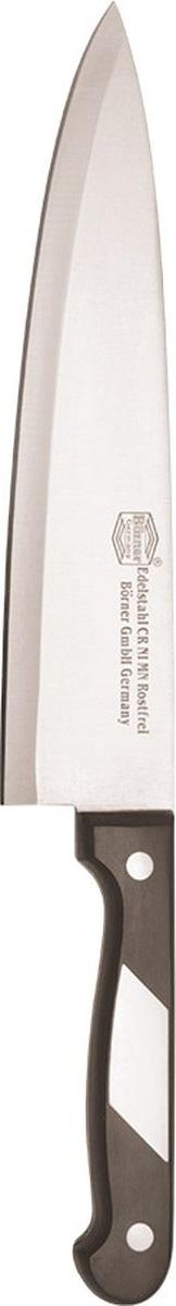 """Нож шеф-разделочный Borner """"Ideal"""" изготовлен из прокатной коррозионностойкой высоколегированной стали марки X50CrMoV15.    Твердость HRC 53+/-2.    Ручка ножа сделана из бакелита.    После использования нож рекомендуется сразу мыть и вытирать насухо.       Не мыть в посудомоечной машине.    Для заточки можно использовать: мусат, электроточилку, ножеточку, оселок. Рекомендуемый угол заточки (суммарный с 2-х сторон): 20°-25°."""
