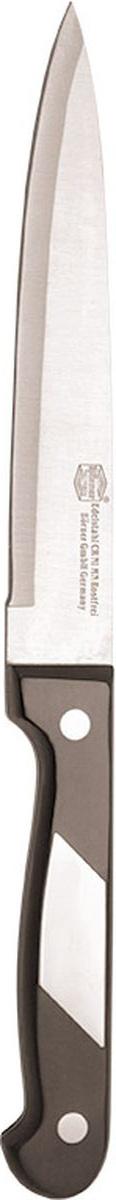 Нож универсальный Borner Ideal, длина лезвия 13 см50891Нож Borner Ideal изготовлен из прокатной коррозионностойкой высоколегированной стали марки X50CrMoV15. Такой нож отлично подходит для нарезки мяса, измельчения овощей, трав и кореньев. Он очень легкий и абсолютно не ржавеет. Эргономичная рукоятка ножа выполнена из бакелита. Нож Borner Ideal предоставит вам все необходимые возможности в успешном приготовлении пищи. Не резать на стеклянных и металлических поверхностях. Желательно использовать пластиковые и деревянные разделочные доски. Не рубить кости и замороженные продукты.Длина лезвия: 13 см.Общая длина ножа: 23 см.