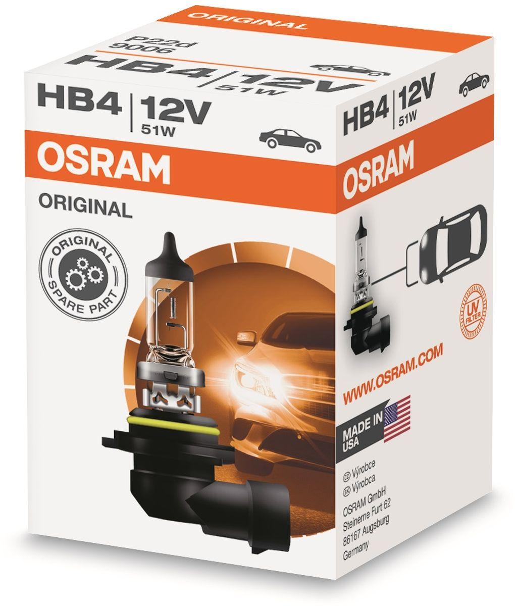 Лампа автомобильная галогенная Osram Original Line, для фар, цоколь P22d, 12V, 62Вт9006Лампы OSRAM ORIGINAL LINE - это безупречные рабочие характеристики, отвечающие всем стандартам автомобильного освещения, надежность и экономия.