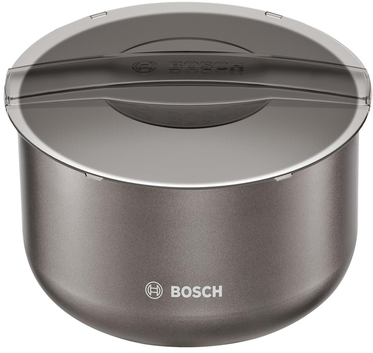 Bosch MAZ2BC чаша для мультиваркиMAZ2BCBosch MAZ2BC - дополнительная чаша для мультиварки объемом 5 л (полезный объем 4 л), которая позволяет приготовить различные блюда без добавления масла или жира. Чаша имеет прочные стенки с керамическим антипригарным покрытием, которое не окисляется, не сдержит вредные примеси и равномерно распределят тепло. Для вашего удобства внутри чаши предусмотрена мерная шкала. В комплект входит прозрачная крышка для практичного хранения в холодильнике. Чашу можно мыть в посудомоечной машине.