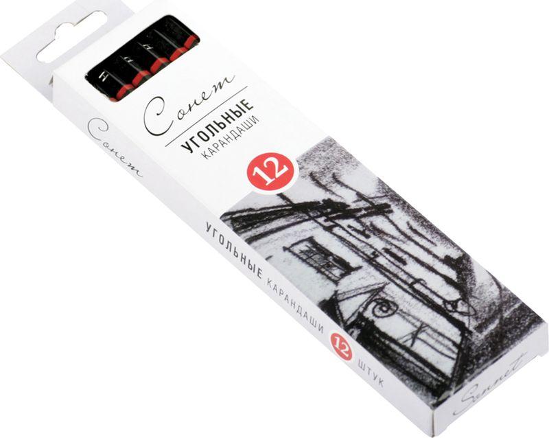ЗХК Угольные карандаши Сонет твердые 12 шт12841430-SУгольный карандаш СОНЕТ предназначен для создания рисунков, набросков, эскизов и т.п. Удобны для проработки контуров и мелких деталей.Стержень изготовлен из натурального прессованного древесного угля, который легко ложится на бумагу, картон, крафт.
