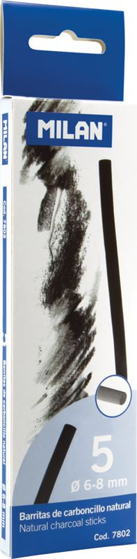 Milan Уголь для рисования круглый 6-8 мм 5 шт7802Набор натуральных углей для рисования Milan состоит из пяти углей, выполненных в форме палочек круглого сечения, диаметра 6-8 миллиметров. Уголь относится к самым старым рисовальным материалам. Природный уголь получают обжигом прутьев при высокой температуре без доступа воздуха. Древесина обуглится, а отдельные веточки остаются целыми, ими можно рисовать сразу после обжига. Уголь - это быстрый, линейный и чувственный рисовальный инструмент. Он может создать, как выразительные, так и мягкие линии. Характер и воздействие угольного штриха определяется способом ведения угля.Натуральные угли для рисования Milan не крошатся.Углем можно создавать мягкие и проработанные тоновые эффекты различными способами.