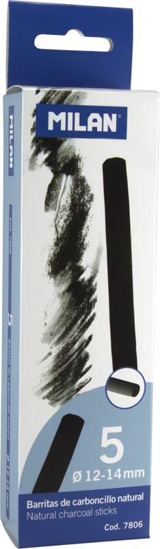 Milan Уголь для рисования круглый 12-14 мм 5 шт7806Набор натуральных углей для рисования Milan состоит из пяти углей, выполненных в форме палочек круглого сечения, диаметра 12-14 миллиметров.Уголь относится к самым старым рисовальным материалам. Природный уголь получают обжигом прутьев при высокой температуре без доступа воздуха. Древесина обуглится, а отдельные веточки остаются целыми, ими можно рисовать сразу после обжига.Уголь - это быстрый, линейный и чувственный рисовальный инструмент. Он может создать, как выразительные, так и мягкие линии. Характер и воздействие угольного штриха определяется способом ведения угля. Натуральные угли для рисования Milan не крошатся. Углем можно создавать мягкие и проработанные тоновые эффекты различными способами.