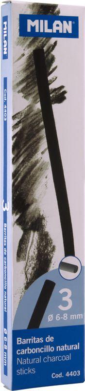 Milan Уголь для рисования круглый 6-8 мм 3 шт4403Набор натуральных углей для рисования Milan состоит из трех углей, выполненных в форме палочек круглого сечения, диаметра 6-8 миллиметров. Уголь относится к самым старым рисовальным материалам. Природный уголь получают обжигом прутьев при высокой температуре без доступа воздуха. Древесина обуглится, а отдельные веточки остаются целыми, ими можно рисовать сразу после обжига. Уголь - это быстрый, линейный и чувственный рисовальный инструмент. Он может создать, как выразительные, так и мягкие линии. Характер и воздействие угольного штриха определяется способом ведения угля.Натуральные угли для рисования Milan не крошатся.Углем можно создавать мягкие и проработанные тоновые эффекты различными способами.
