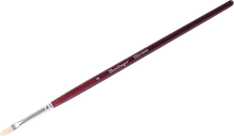 Berlingo Кисть Щетина плоская №04AB00604Плоская кисть Berlingo предназначена для рисования масляными, темперными и акриловыми тяжелыми красками. Кисть из щетины имеет короткую деревянную ручку.Если начинающему художнику необходимо овладеть базовыми навыками, то кисти из щетины - лучший выбор. Они делают структурные четкие мазки.Щетинная кисть имеет ряд особенностей: высокая упругость, низкое поглощение влаги ворсинками, износостойкость, высокая жесткость, легкость в использовании.