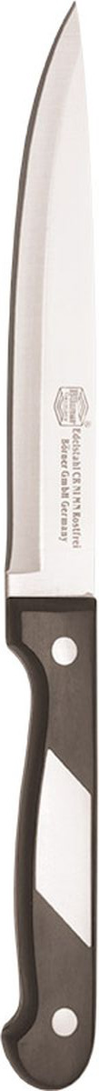 Нож Borner Ideal, поварской, длина лезвия 15 см50495Идеальное решение для каждой готовки - это серия ножей Ideal от немецкой марки Borner. Ножи этой коллекции из прокатной стали сочетают в себе превосходное качество, эргономичность, а также элегантное исполнение. Поварской нож позволит даже любителю почувствовать себя профессионалом. Его острые лезвия долгое время сохраняют заточку, а износоустойчивая бакелитовая ручка комфортно ложится в ладонь. Нож не боится повреждений, влаги, коррозии, а также долгих лет использования.Длина лезвия: 15 см.Длина ножа: 27,5 см.