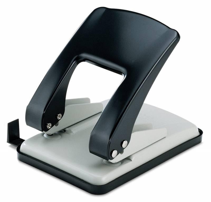 KW-trio Дырокол Stylish 976 цвет серый черный 40 листов976gr/blckОфисный дырокол KW-trio на 40 листов черно-серого цвета. Изготовлен из металла и пластика. Диаметр прокола 6мм, расстояние между отверстиями 80мм. Снабжен пластиковой выдвижной линейкой и поддоном для конфетти.