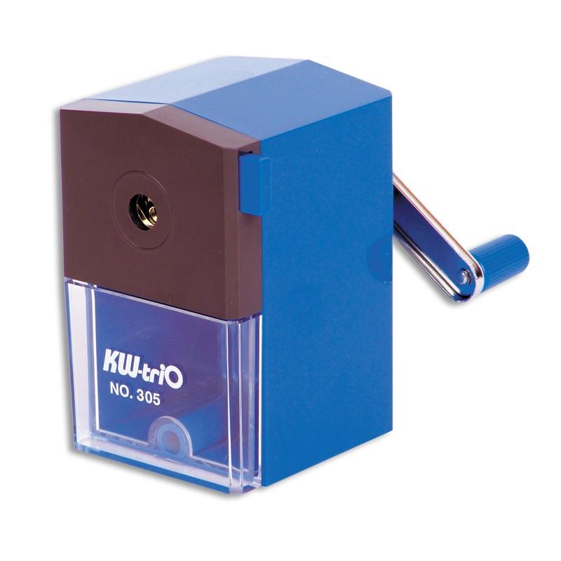 KW-trio Точилка 305A цвет синий305AbluОфисная пластиковая механическая точилка KW-trio предназначена для одного карандаша. Максимальный диаметр карандаша - до 8мм. Точилка оснащена прозрачным контейнером для стружки, который позволяет визуально контролировать уровень заполнения и вовремя производить очистку. Струбцина позволяет закрепить точилку на столе.Для заточки карандаша необходимо вставить его в отверстие и повернуть ручку.