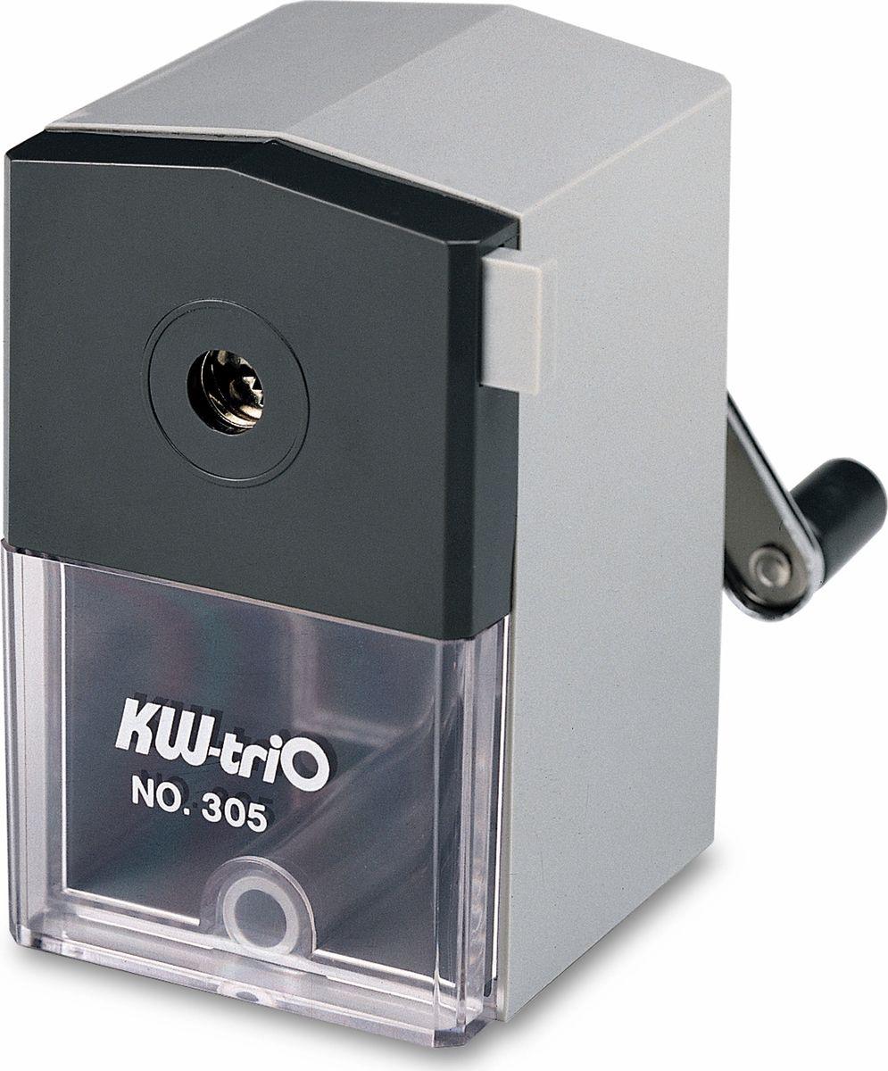 KW-trio Точилка 305A цвет серый305AgrОфисная пластиковая механическая точилка KW-trio предназначена для одного карандаша. Максимальный диаметр карандаша - до 8мм. Точилка оснащена прозрачным контейнером для стружки, который позволяет визуально контролировать уровень заполнения и вовремя производить очистку. Струбцина позволяет закрепить точилку на столе. Для заточки карандаша необходимо вставить его в отверстие и повернуть ручку.