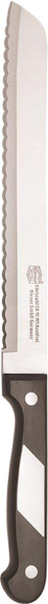Нож Borner Ideal, хлебный, длина лезвия 20 см50594Нож изготовлен из прокатной коррозионностойкой высоколегированной стали марки X50CrMoV15. Твердость HRC 56+/-1. Ручка ножа сделана из бакелита. После использования нож рекомендуется сразу мыть и вытирать насухо.Не мыть в посудомоечной машине. Для заточки можно использовать: мусат, электроточилку, ножеточку, оселок. Рекомендуемый угол заточки (суммарный с 2-х сторон) 20° - 25°.