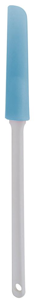 Нож кулинарный Regent Inox Silicone, длина 38 см93-SI-CU-12Кулинарный нож Regent Inox Silicone можно использовать для любых покрытий, в том числе, керамических и тефлоновых. Изделие состоит из длинной ручки, выполненной из прочного пластика, и плоской голубой силиконовой лопаточки. Таким ножом удобно разделывать тесто, или перемешивать мясо и овощи во время тушения. Прихватки вам больше не понадобятся: мягкая пластиковая ручка не нагревается и не выскальзывает из руки. Нож выполнен в стильном цветовом решении, поэтому будет отлично сочетаться с современным дизайном и украсит стол любой хозяйки.Можно мыть в посудомоечной машине.Общая длина кулинарного ножа: 38 см.