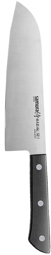 Нож кухонный Samura Harakiri,сантоку, цвет: черный, длина лезвия 17,5 смSHR-0095BКухонный нож Samura Harakiri - незаменимый помощник на вашей кухне. Изделие имеет очень тонкое, узкое и прямое лезвие из высокотехнологичной коррозионностойкой стали AUS 8 (Aishi Steel Works). Нож великолепно подходит для нарезки мясного и рыбного филе, незаменим для приготовления японских рыбных блюд. Постоянно используется для нарезки филейных кусков осетрины и ветчины. Легкая, отлично сбалансированная и приятная на ощупь рукоятка удобна в использовании. Двусторонняя заточка острых ножей Samura Harakiri на водных камнях привлекает своим удобством не только европейцев, но и самих японцев.