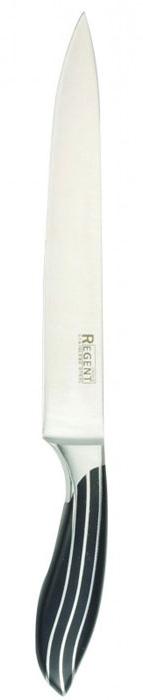 Нож разделочный Regent Inox Line, длина лезвия 20 см93-KN-LI-3Разделочный нож Regent Inox Line изготовлен из высококачественной нержавеющей стали. Острое лезвие ножа имеет ровную поверхность и выверенный угол заточки. Специальная закалка металла повышает прочность изделия. Сбалансированность ножа обеспечивает приложение минимальных усилий при резке. Лезвие ножа не впитывает запахи и не оставляет запаха на продуктах.Нож с длинным, средним по ширине клинком применяется для разделки крупных и средних овощей, нарезки больших кусков мяса, курицы, крупной рыбы. Такой нож займет достойное место среди аксессуаров на вашей кухне. Характеристики:Материал: нержавеющая сталь 18/10. Общая длина ножа: 32 см. Длина лезвия: 20 см. Артикул: 93-KN-LI-3.