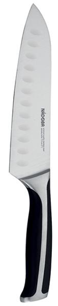 Нож сантоку Nadoba Ursa, длина лезвия 17,5 см722612Универсальный японский нож Nadoba Ursa выполнен из нержавеющей стали премиум класса. Лезвие остается острым долгое время, форма позволяет с легкостью справляться с любыми продуктами. Клинок ножа сильнее заточен в носовой части, для более точной и тонкой нарезки. Лезвие оснащено углублениями, которые позволяют уменьшить прилипание пищи к ножу. Ручка изготовлена из кованной нержавеющей стали со вставками из ABS-пластика и не позволяет скользить ножу в руке. Нож сантоку удобен резки мелкими ломтиками или кубиками рыбы, мяса, сыра и овощей.
