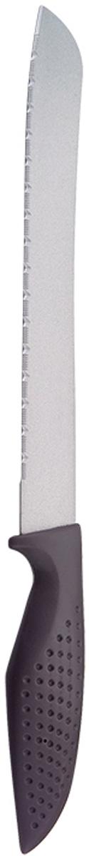 Нож универсальный Marta Utility, с титановым покрытием, длина лезвия 20 смMT-2863Универсальный нож Marta Utility с лезвием из высококачественной пищевой нержавеющей стали 1 мм и титановым покрытием. Изделие из нержавеющей стали имеет самый длительный срок службы, отлично сохраняет эксплуатационные свойства и внешний вид. Высококачественная пищевая нержавеющая сталь не имеет запаха и сохраняет вкус и аромат продуктов натуральными, а гигиеничное, нетоксичное, гипоаллергенное титановое покрытие устойчиво к коррозии и обеспечивает длительное сохранение качества режущей кромки ножа без необходимости его дополнительной заточки.Нож имеет зубчатое острозаточенное лезвие, а также стильное исполнение пластиковой ручки удобной формы с тиснением для более плотного контакта с ладонью.Качественный универсальный нож Marta Utility – это подлинное украшение кухни и уверенность в успехе любого блюда.Можно мыть в посудомоечной машине. Общая длина ножа: 30,2 см.