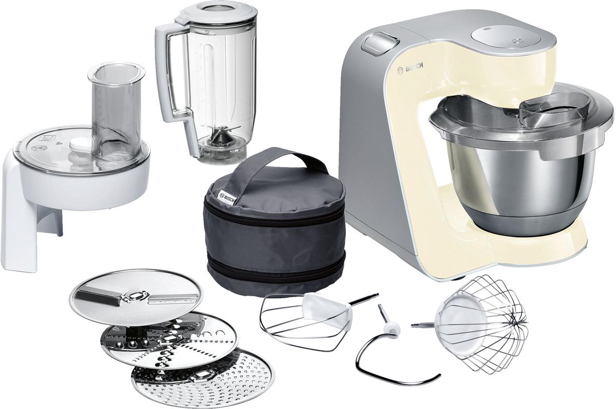 Bosch MUM58920, Vanilla Silver кухонный комбайнMUM58920Bosch MUM58920 - мощная кухонная машина с многосторонними возможностями для готовки и выпечки.Данная модель легко обрабатывает большие количества ингредиентов (до 1 кг муки плюс ингредиенты) благодаря мощному мотору 1000 Вт.Отличное качество замеса теста благодаря особой форме внутренней поверхности чаши и благодаря планетарному вращению насадок в трех плоскостях 3D. Возможно замесить до 2,7 кг легкого теста/ 1,9 кг дрожжевого теста.Прибор просто и удобно использовать благодаря функции автоматического поднятия рычага EasyArmLift. Функция автопарковки упрощает процесс смены насадок.Особую многофункциональность обеспечивают высококачественные кондитерские насадки (венчик для взбивания, венчик для смешивания, насадка для замешивания теста) и долговечный измельчитель с тремя дисками для разных типов измельчения: измельчения, шинковки и нарезки и блендер.Прибор легко чистить благодаря гладкой поверхности. А насадки можно мыть в посудомоечной машине.