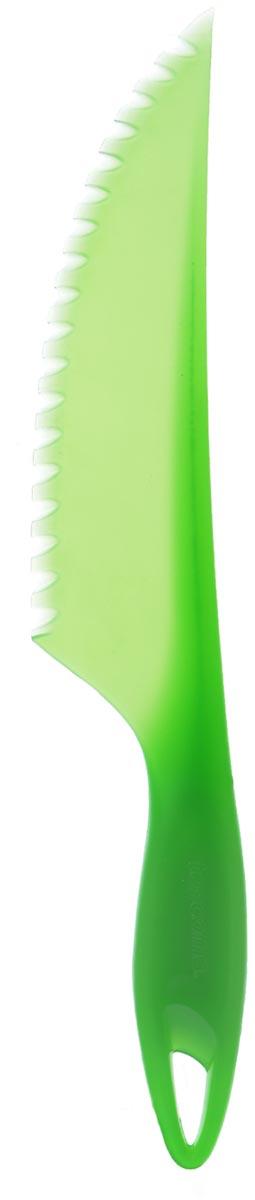 """Нож для салата Tescoma """"Presto"""" изготовлен из первоклассного прочного пластика. Лезвие заточено и сформировано для максимально эффективного использования. Это легкий и многофункциональный нож прекрасно подойдет для резки листьев салата, пекинской капусты, шпината, огурцов, болгарского перца. Овощи, нарезанные пластиковым ножом, не темнеют и дольше сохраняют свежесть. Такой нож станет прекрасным дополнением к коллекции ваших кухонных аксессуаров и не займет много места при хранении. Можно мыть в посудомоечной машине. Общая длина ножа: 31 см.Длина лезвия: 19 см."""