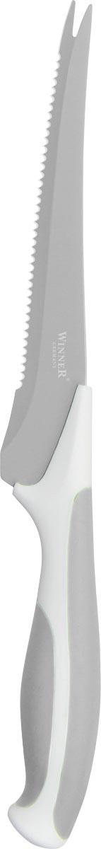 Нож для томатов Winner, цвет: серый, белый, длина лезвия 14,2 смWR-7222_серый, белыйНож Winner изготовлен из высококачественной нержавеющей стали с цветным полимерным покрытием Xynflon. Нож имеет острое лезвие, а благодаря специальному покрытию он держит заводскую заточку в несколько раз дольше, чем обычные стальные ножи. Продукты, которые вы нарезаете таким ножом, не прилипают к лезвию ножа, не вступают в химическую реакцию, не окисляются и не намагничиваются. Эргономичная рукоятка выполнена из высококачественного прорезиненного пластика. Рукоятка не скользит в руках и делает резку удобной и безопасной. Такой нож желательно использовать для нарезки овощей. Этот нож будет служить вам многие годы при соблюдении простых правил.Можно мыть в посудомоечной машине.Общая длина ножа: 24,7 см. Длина лезвия: 14,2 см. Толщина лезвия: 1,2 мм.