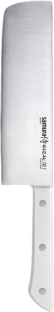"""Кухонный нож Samura """"Harakiri"""" - незаменимый помощник на вашей кухне. Накири - это японский нож для нарезки овощей с массивным клинком и обухом, по форме напоминающий топорик. Изделие имеет очень тонкое, узкое и прямое лезвие из высокотехнологичной коррозионностойкой стали AUS 8 (Aishi Steel Works).Легкая, отлично сбалансированная и приятная на ощупь рукоятка удобна в использовании. Двусторонняя заточка острых ножей Samura """"Harakiri"""" на водных камнях привлекает своим удобством не только европейцев, но и самих японцев."""