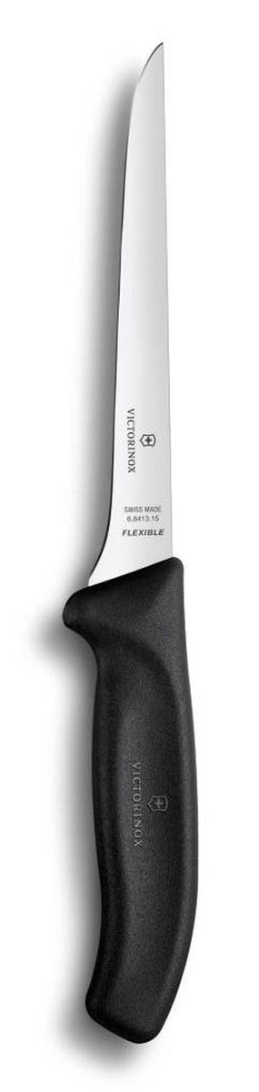 Нож обвалочный Victorinox SwissClassic, гибкий, длина лезвия 15 см6.8413.15Нож Victorinox SwissClassic изготовлен из высококачественной стали. Удобная эргономичная ручка выполнена из полипропилена и не позволит ему выскользнуть из руки. Нож с тонким, гибким и острым лезвием предназначен для удаления костей и кожи с рыбы и мяса. Узкое изогнутое лезвие аккуратно проходит вокруг кости или сустава, делает очень тонкие разрезы, дочиста отделяя мясо. Работа с различными видами мяса - это, как правило, трудоемкий и непростой процесс. При бережном уходе изделие прослужит вам долгие годы, поскольку не требует длительной и частой заточки.