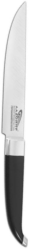Нож овощной Ладомир, длина лезвия 9 см. В1ЕСК09В1ЕСК09Овощной нож Ладомир изготовлен из высокоуглеродистой кованой нержавеющей немецкой стали марки 1.4116 X50СrМoV15 (хром-молибден-ванадий). Твердость лезвия составляет 58 ед. по шкале С. Роквелла. Оптимальный угол заточки (23°) - в 2,7 раза увеличивает износостойкость лезвия. Слегка закругленная рукоятка, изготовленная из бакелита и стали, не позволяет скользить ножу в руках и обеспечивает безопасность при нарезке продуктов. Рукоять также оснащена цельнокованым антибактериальным больстером, который служит для защиты места сопряжения клинка с рукоятью. Овощной нож подойдет для нарезки и чистки любых овощей и фруктов, мяса без костей, рыбы и других продуктов.Такой нож займет достойное место среди аксессуаров на вашей кухне. Характеристики:Материал: нержавеющая сталь, бакелит. Общая длина ножа: 23 см. Длина лезвия: 9 см. Артикул: В1ЕСК09.