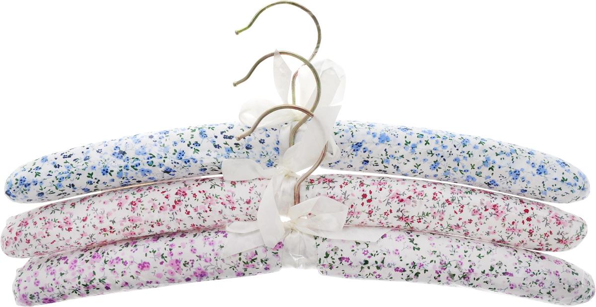 Набор вешалок для одежды Home Queen Цветы, цвет: голубой, розовый, фиолетовый, 3 шт набор свечей home queen птенчики яички 6 шт