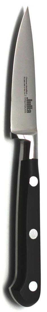 Нож для чистки Julia Vysotskaya, длина лезвия 7,5 смJV02Кованый нож для чистки Julia Vysotskaya выполнен из нержавеющей стали с практически неразрушимой синтетической рукояткой. Это не просто лезвие и ручка, это настоящий инструмент, способный сделать из любого человека истинного повара. Нож прекрасно сбалансированный и выполненный из гигиеничных, экологичных и безопасных для еды и для вашего здоровья материалов. При бережном уходе прослужит вам долгие годы, он не требует длительной и частой заточки. Компания Ivo Cutelarias основана в 1954 г и специализируется на производстве кухонных ножей для домашнего и профессионального использования. Храня традиции и страсть к качеству, совершенствуя дизайн и технологии, Ivo является мировым экспертом в производстве кухонных ножей.Общая длина ножа: 18 см.