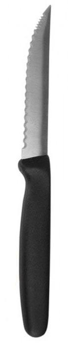 Нож универсальный Regent Inox Bravo, длина лезвия 10,5 см93-KN-BR-7.1Универсальный нож Regent Inox Bravo, изготовленный из высококачественной нержавеющей стали, обладает повышенной прочностью, износостойкостью и остротой лезвия, как у бритвы. Лезвие ножа имеет ровную поверхность и выверенный угол заточки, не впитывает запахи и не оставляет запаха на продуктах. Специальная закалка металла повышает прочность изделия. Сбалансированность ножа обеспечивает приложение минимальных усилий при резке. Оригинальная и практичная ручка удобной формы выполнена из полипропилена.Легкий и многофункциональный нож с узким зубчатым лезвием предназначен для резки небольших овощей и фруктов, колбасы, сыра, масла. Такой нож займет достойное место среди аксессуаров на вашей кухне. Характеристики:Материал: нержавеющая сталь 18/10, полипропилен. Общая длина ножа: 21 см. Длина лезвия: 10,5 см. Артикул: 93-KN-BR-7.1.